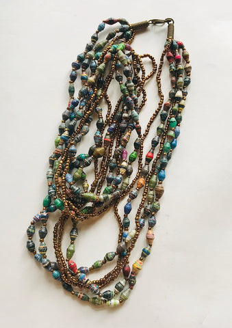 Vintage 5-Strand Paper Bead Necklace