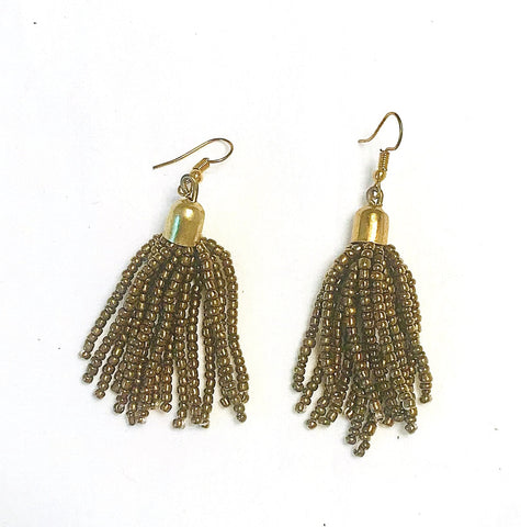 Seed Bead Gold Tassel Earrings