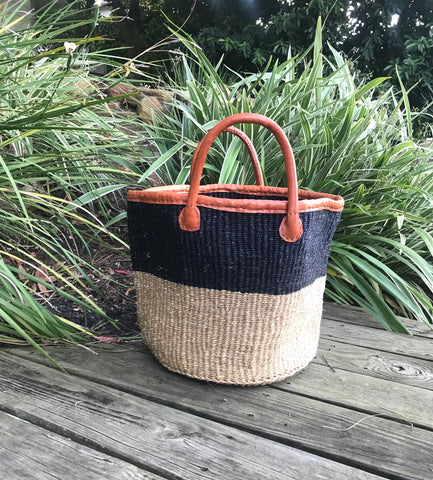 Natural/Black Iringa Basket Tote with Leather Handles