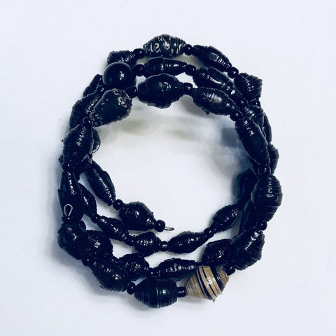Paper Bead Wrap Bracelet Midnight
