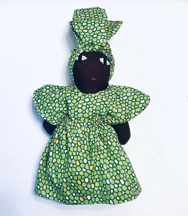 Kenyan Baby Doll - Green Kanga Fabric
