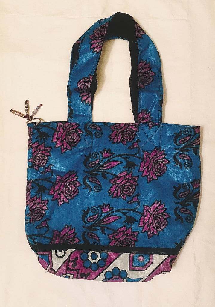 Hand Bag - Blue/Pink Flowers Kanga