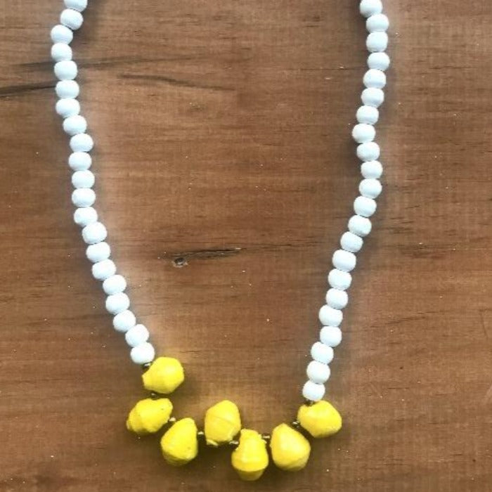 Toto Child White Wood/Paper Bead Necklace - Yellow