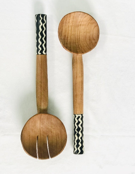 Hand-carved Chunky Acacia Wood Spoons with Stained Cow Horn Handles