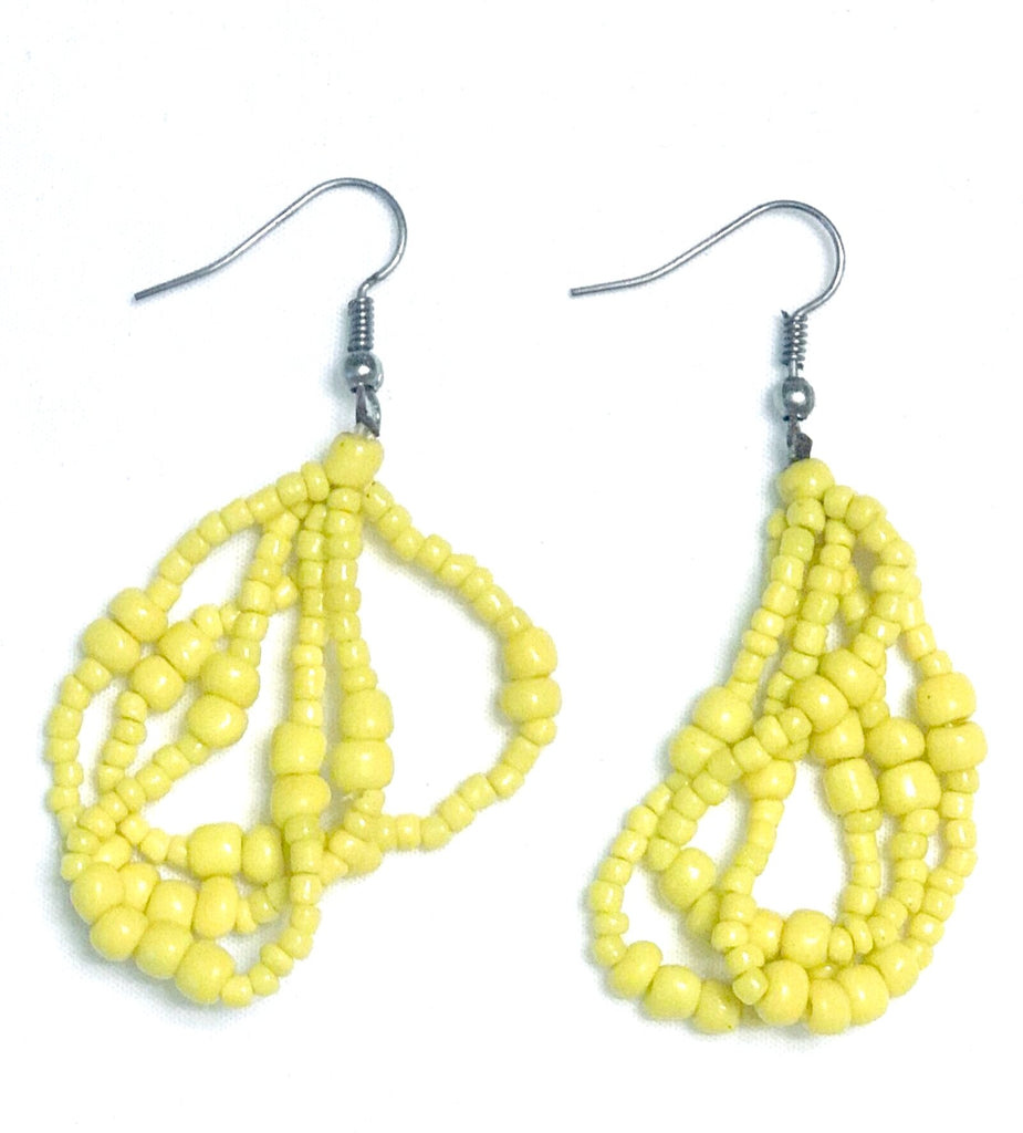 Ethnic Maasai Strands Earrings - Yellow