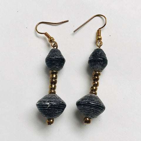 Paper Bead Double Drop Suspended Earrings - Charcoal