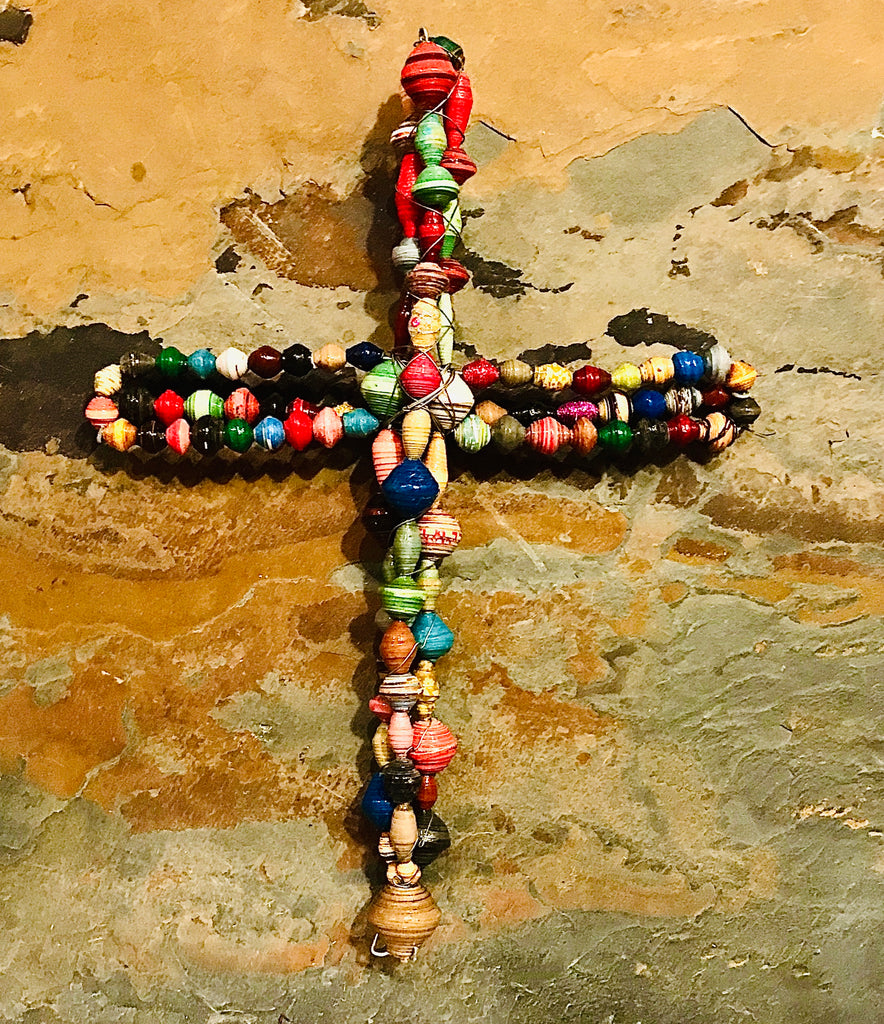 "Hand-Rolled Paper Bead Cross 12"" Tall"