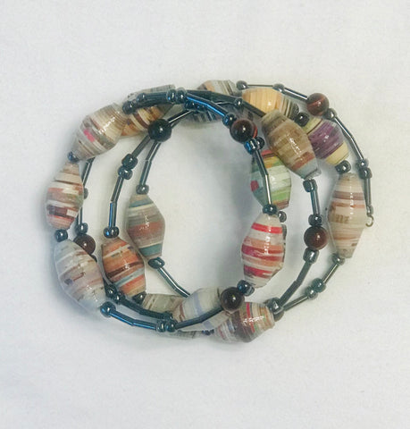 Paper Bead Muted Tones Chameleon Coiled Bracelet