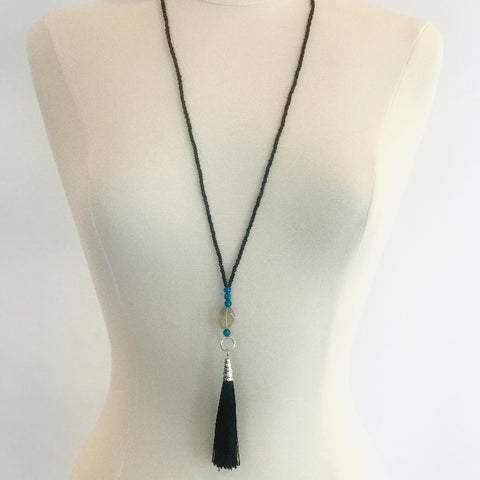 Black Tassel and Turquoise Beads Necklace