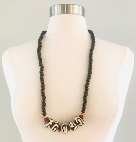 African Etched Rondelles with Ghana Red Glass Beads Necklace