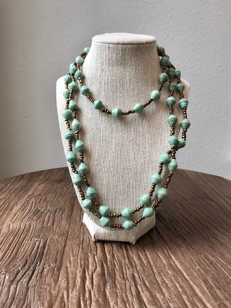 Sea Foam Paper Bead Necklace