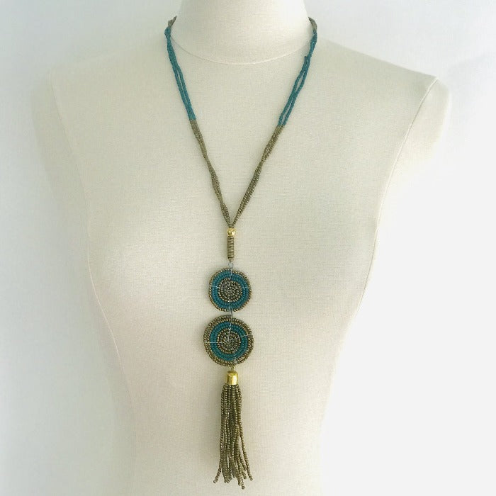 Ethnic Maasai Beaded Necklace - Teal