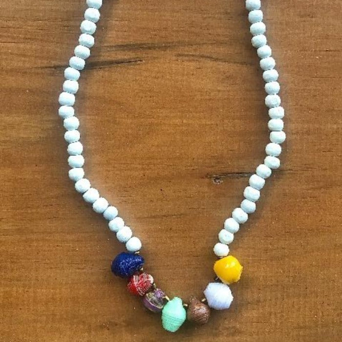 Toto Child White Wood/Paper Bead Necklace - Multi