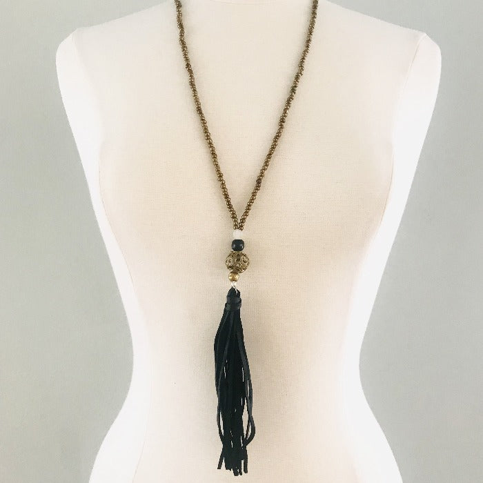 Moroccan Embellished Bead and Black Tassel Necklace