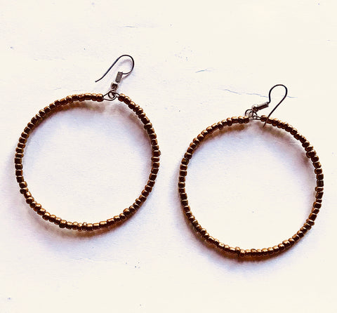 Gold Seed Bead Hoops
