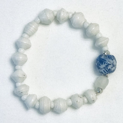 Blue Floral Glass/Clear Ghana Glass with White Paper Beads Stretchy Bracelet