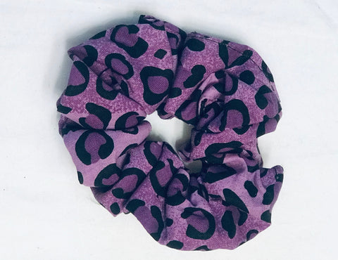 Kanga Fabric Scrunch - Purple Leopard