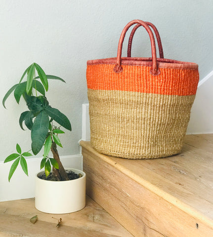 Orange/Natural Iringa Basket Tote with Leather Handles