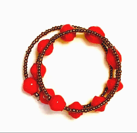 Paper Bead 2-Wrap Bracelet - Hot Red