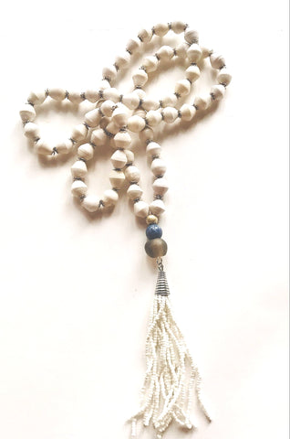 White Paper Bead w/Taupe Ghana Glass Tassel Necklace