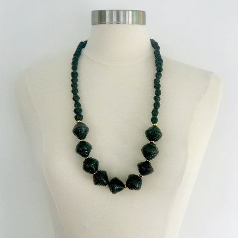 Anastasia Chunky Paper Bead Necklace - Midnight Black
