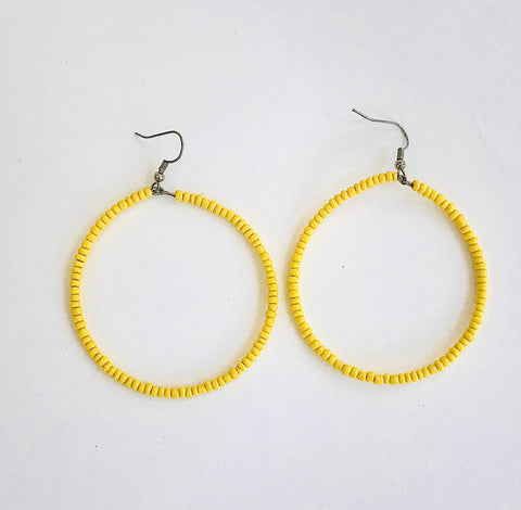 Yellow Seed Bead Hoop Earrings