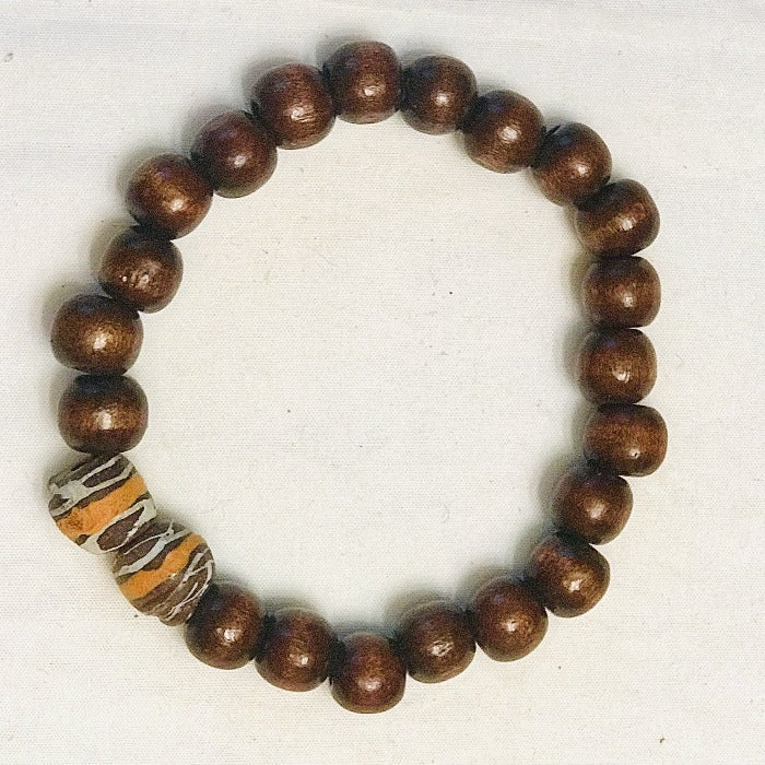 Brown Wood Bead with Clay Stretchy Unisex Bracelet