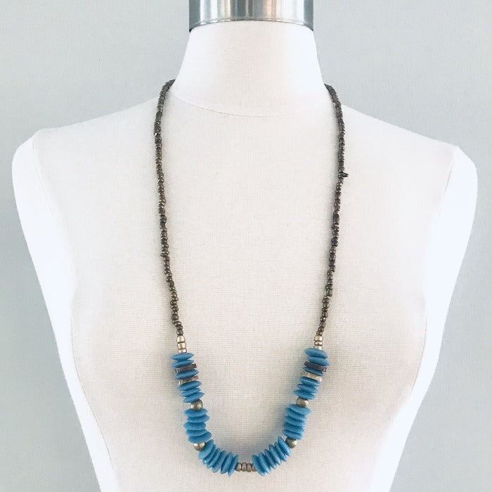 Blue Ghana Glass and Coconut Necklace