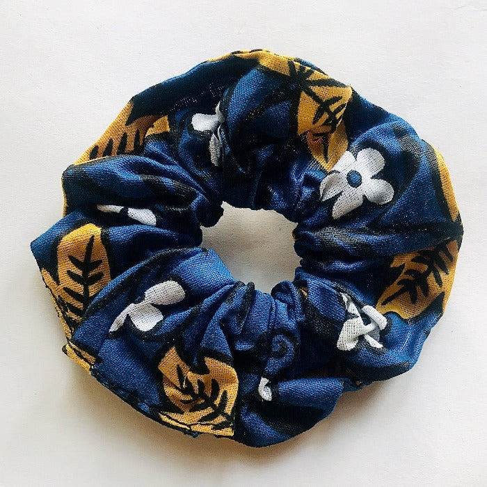 Kanga Fabric Hair Scrunch - Yellow Flowers/Blue