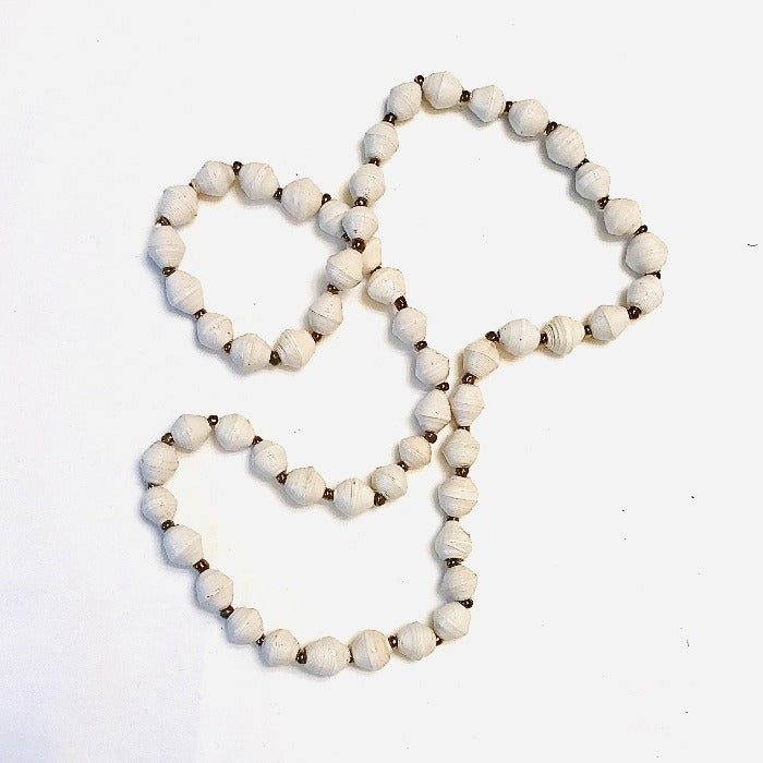 Paper Bead Short Necklace - White