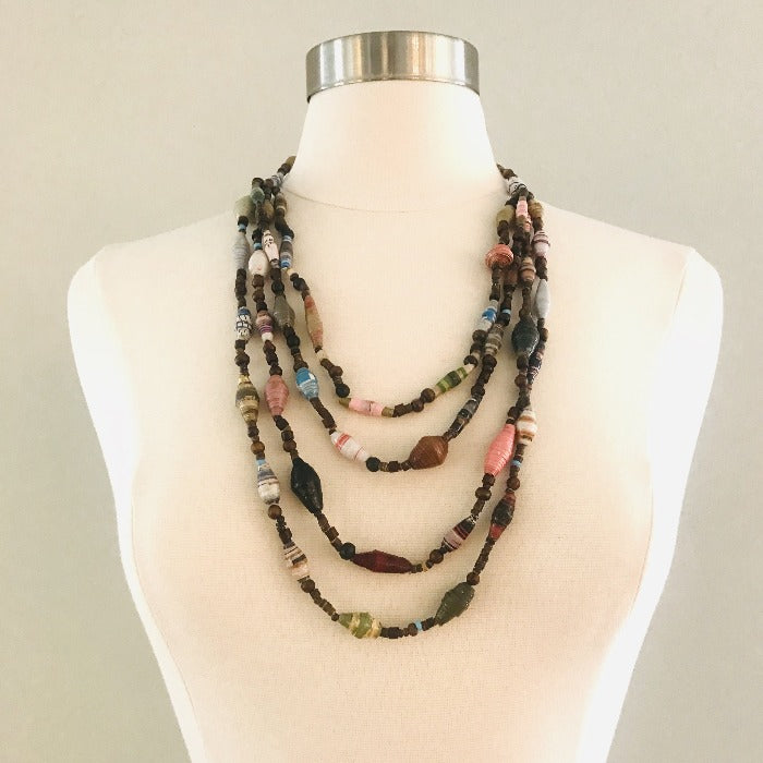 Paper Bead Cascade Kenyan Necklace