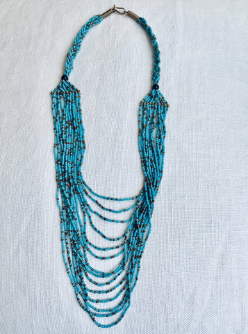 Cascading Tribal Blue Seed Bead Necklace