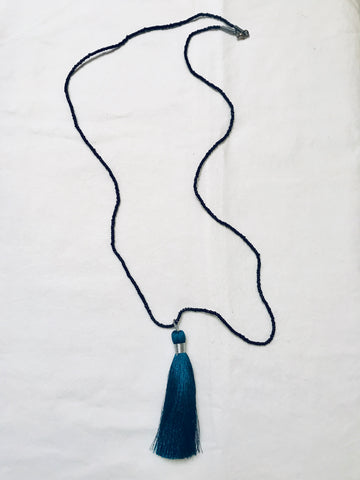 Black Seed Bead Necklace with Threaded Teal Tassle