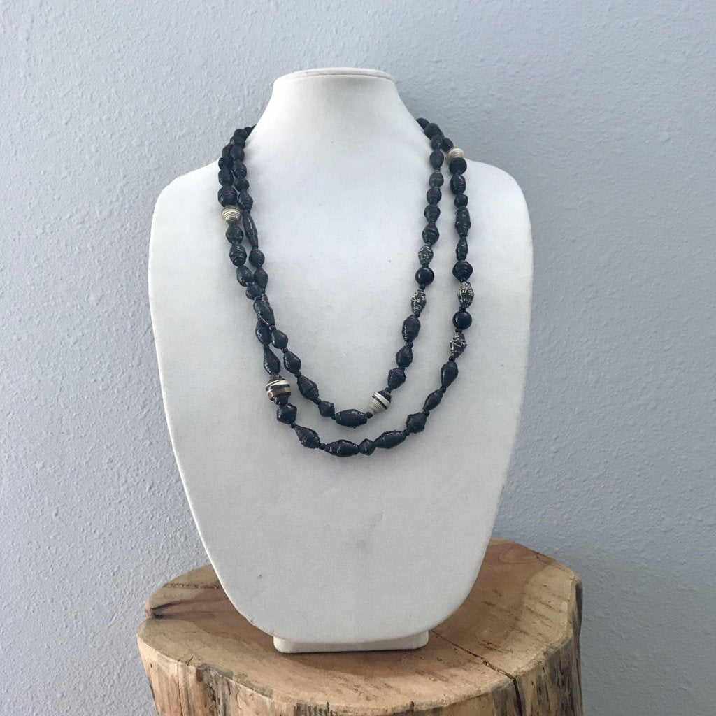 Midnight Paper Bead Necklace