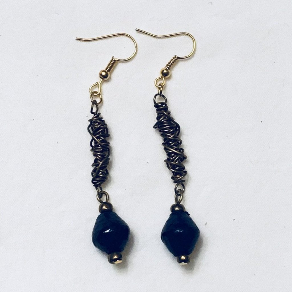 Navy and Twisted Wire Paper Bead Earrings