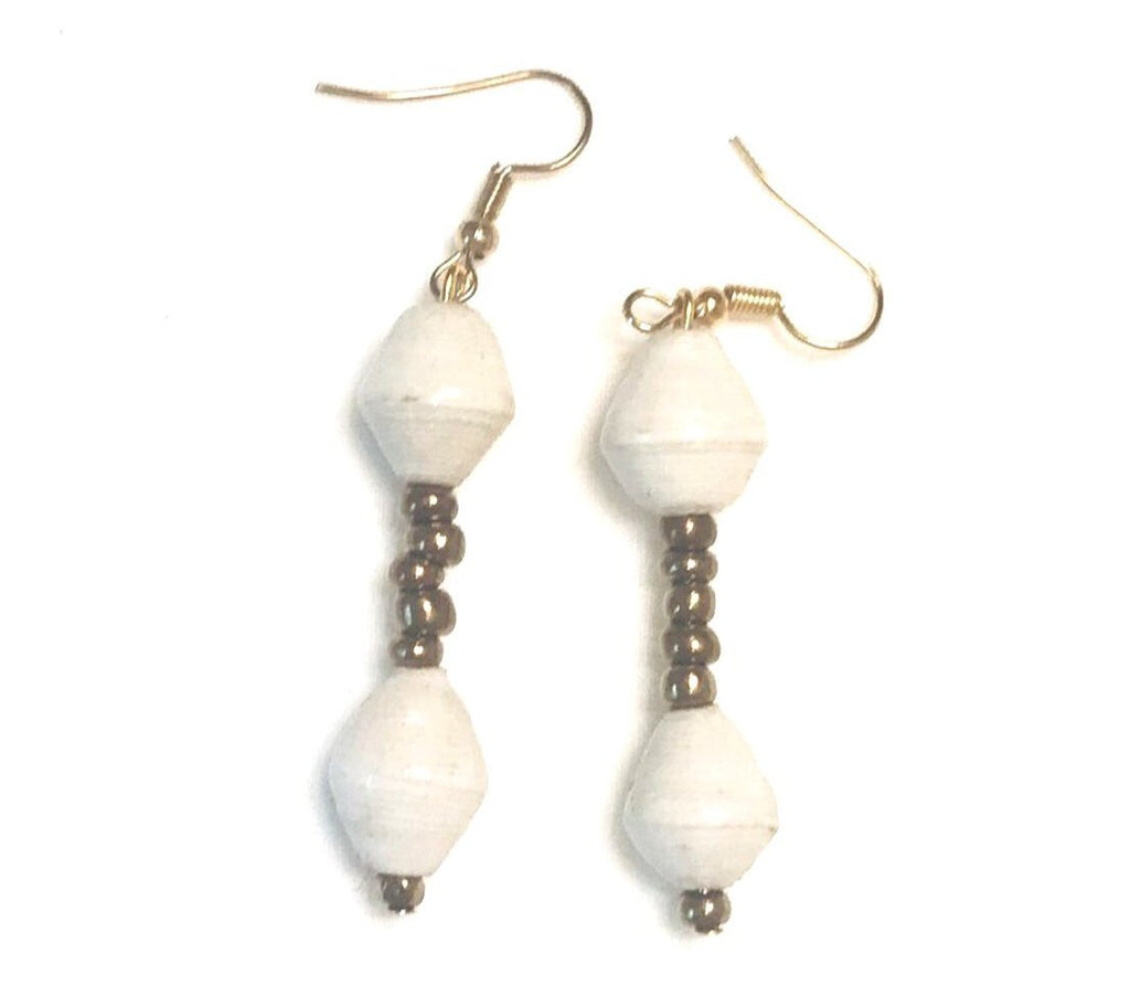 White Paper Bead Suspended Earrings