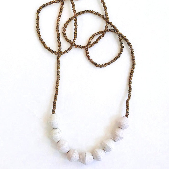 White Paper Bead 9-Drop Necklace