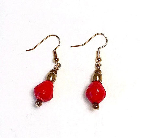 Single Drop Paper Bead Earrings - Hot Red
