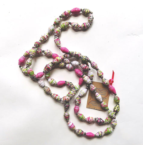 Pink/Floral Paper Bead Long Necklace