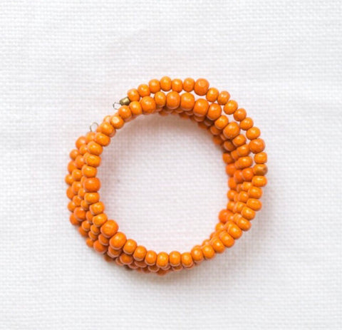 Wood Bead Wrap Bracelet Orange