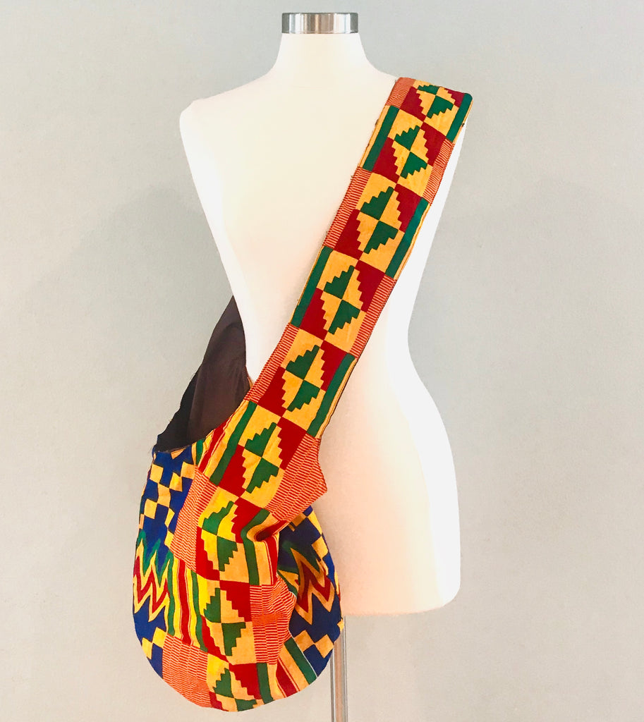 Cross-body Slouch Bag - Bold African Print