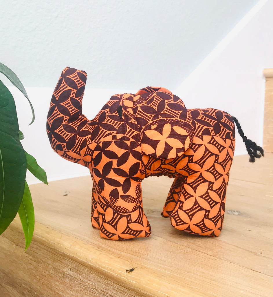 Stuffed Elephant - Orange Kanga