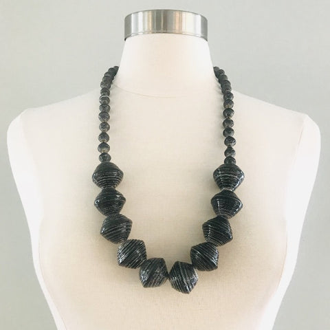 Anastasia Chunky Paper Bead Necklace-Charcoal
