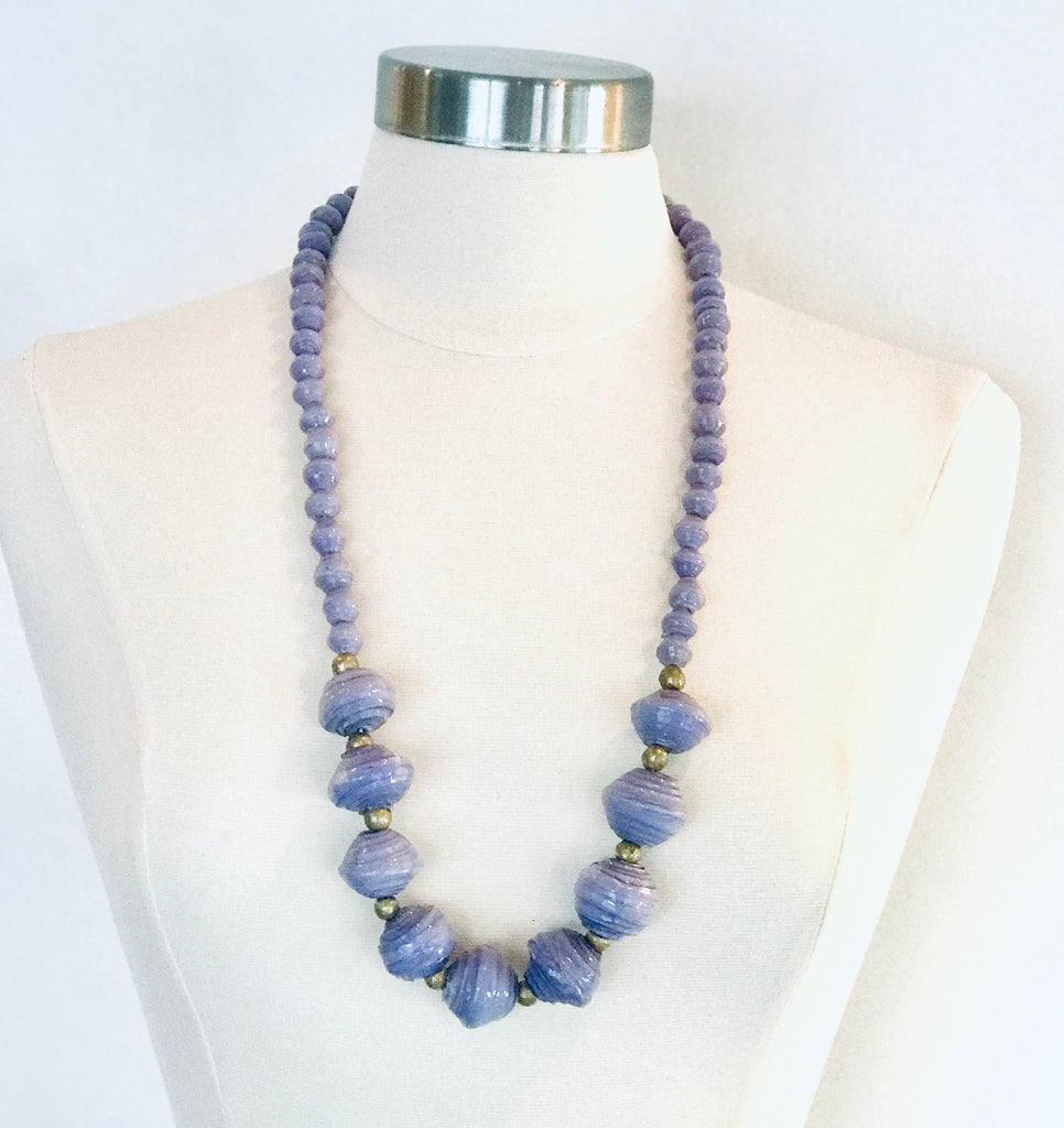 Anastasia Chunky Paper Bead Necklace - Lavender