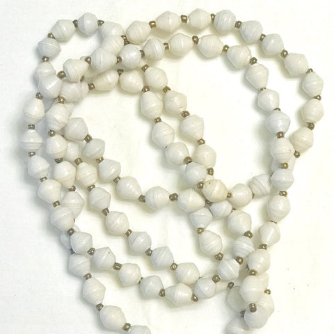 Paper Bead Long Necklace - White