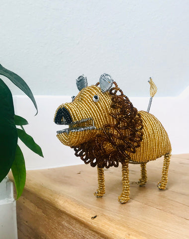 Beaded Lion in Gold