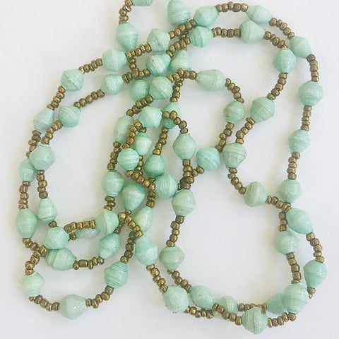 Sea Foam Paper Bead Long Necklace