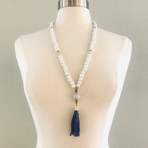 White Wood Bead Necklace, Hand-rolled White Wood Bead and Blue Fabric Tassel