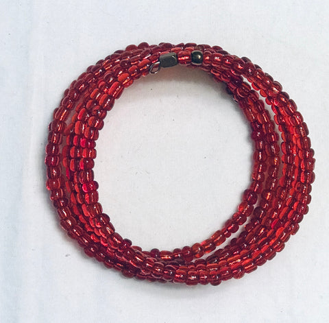 Red Clear Bead Coiled 5-Wrap Bracelet