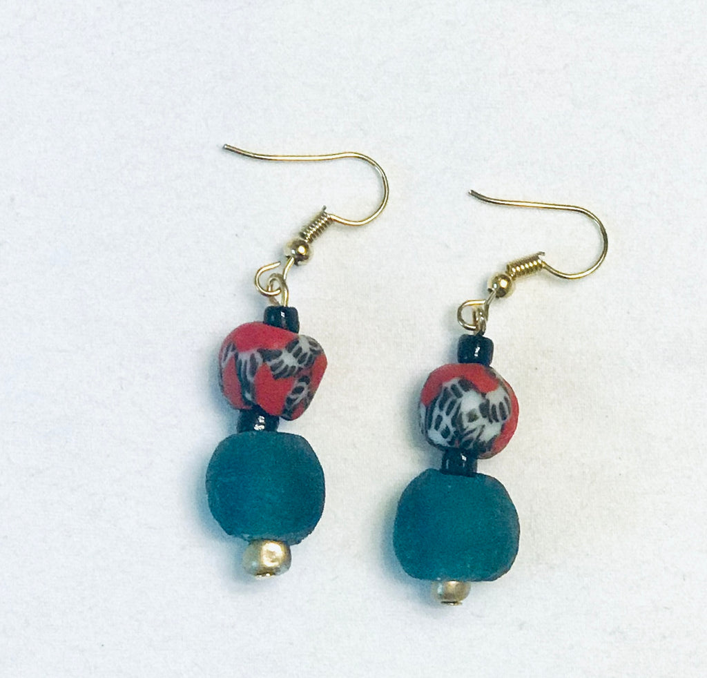 Hand-painted Red and Blue Ghana Glass Earrings